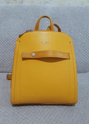 Яркий насыщенный желтый кросс-боди сумка рюзак из эко-кожи dav...