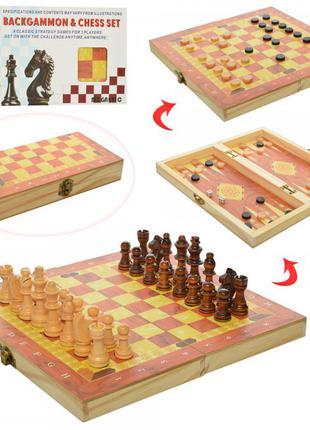 Шахматы 1680EC  деревянные, 3в1 (шашки, нарды)