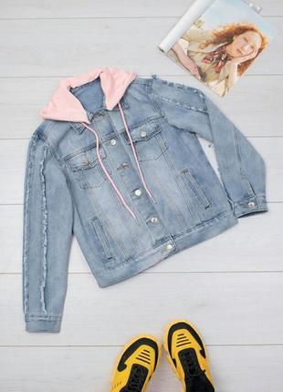 Супер джинсовая куртка с капюшоном