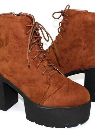 Элегантные стильные замшевые женские ботинки. ботиночки на удо...
