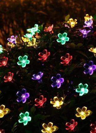Садовая гирлянда на солнечной батарее, 5 метров, 4 цвета свечения