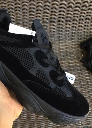 Тренд! полностью черные кроссовки кеды yzy 500