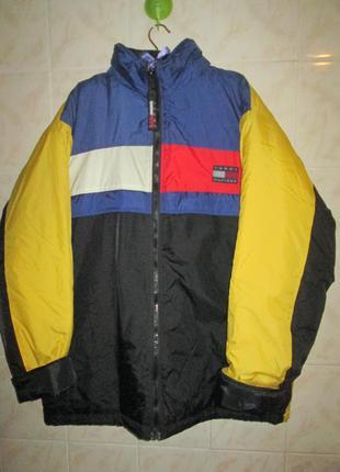 Фирменная тёплая винтажная ретро куртка с контрастными вставка...