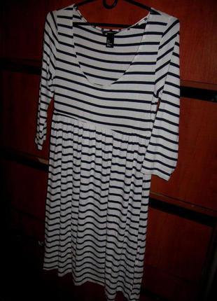 Платье полоска сине-белое