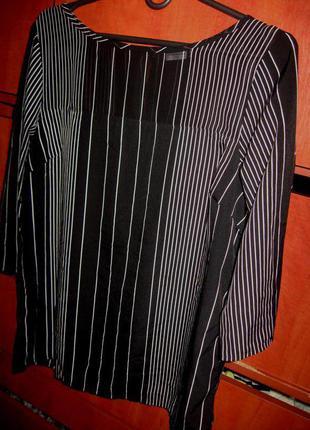 Блуза полоска черно-белая