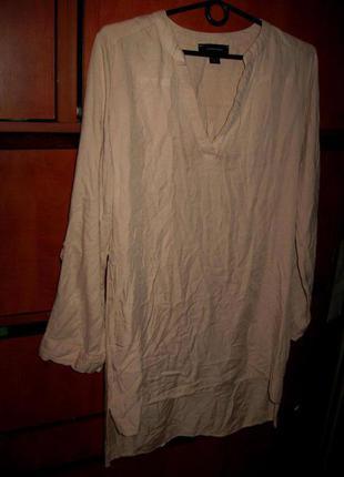 Туника-платье вискоза бежевая