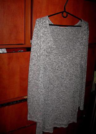Платье-туника в рубчик трикотаж серое