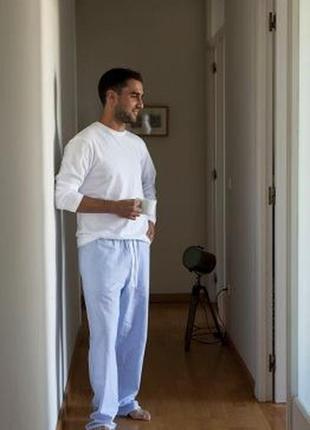 Штаны пижамные мужские голубые