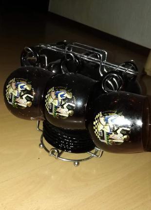 Кофейно-чайный сервиз с подставкой с рисунком стекло темно-кор...