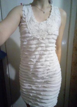 Красивое летнее платье с кружевом, сарафан 1+1=3