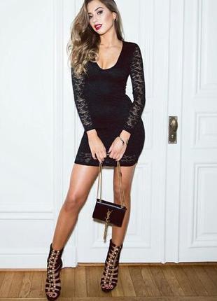 Платье вечернее кружево черное