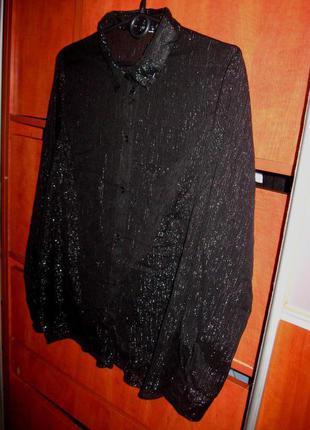 Праздничная рубашка серебристо-черная