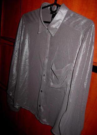 Рубашка c напылением металлик серо-серебристая