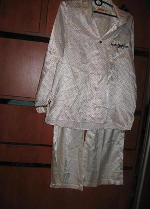 Пижама под шелк в горошек молочная