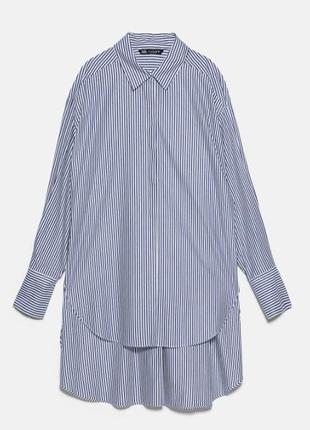Рубашка-платье zara oversized в полоску бело-синяя