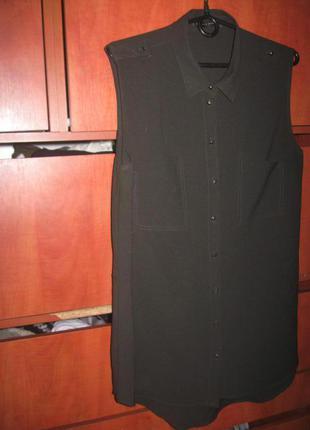 Блуза-туника длинная болотный цвет