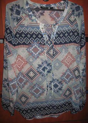 Блуза-туника орнамент голубая