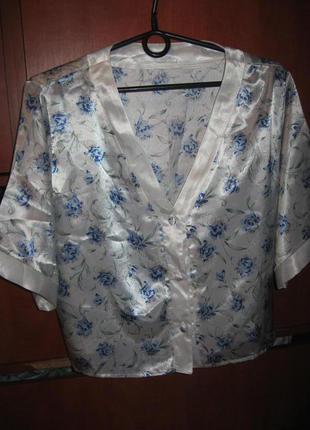 Пижама под шелк floral бело-голубая