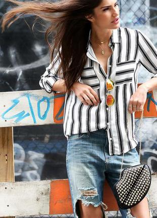 Блуза полоска бело-черная