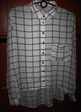Рубашка клетка бело-черная