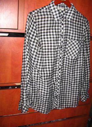 Рубашка в клетку черно-белая
