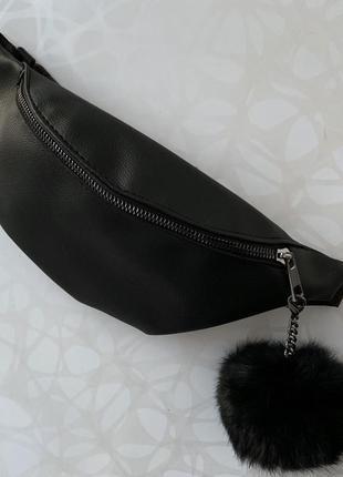 Женская чёрная бананка поясная сумка пушок в подарок