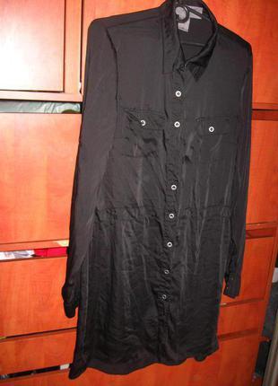 Платье-рубашка под шелк черное