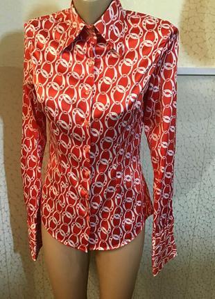 Яркая оригинальная атласная рубашка блуза рукав под запонки ha...