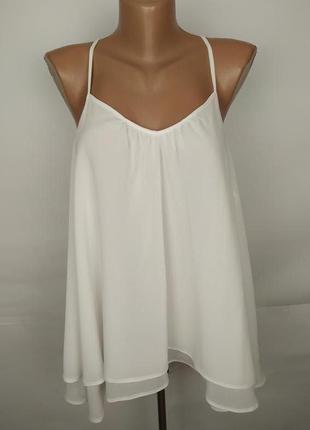 Блуза белая шифоновая красивая на подкладке george uk 14/42/l