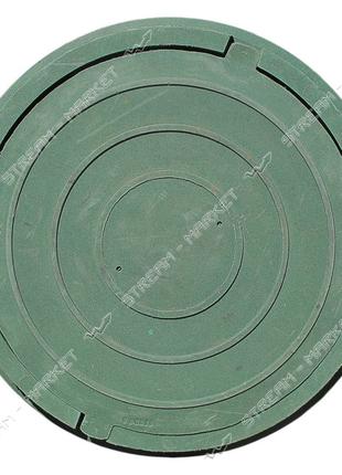 Люк канализационный до 1 тонны круглый зеленый 700 мм