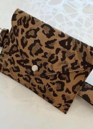 Женская леопардовая поясная сумка на пояс