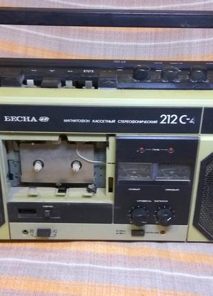 Продам магнитофон весна кассетный стереофонический 212 с-4.