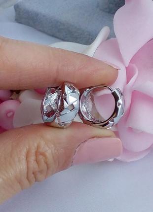 Серьги кольцо под серебро, покрытие родий