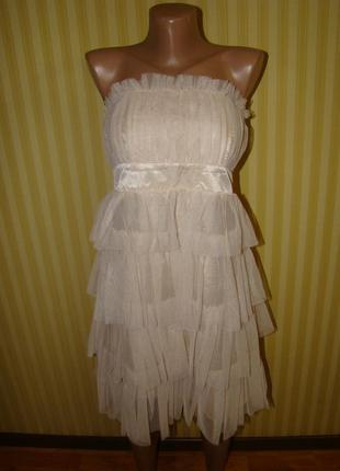 Коктейльное  платье oodji нежно-кремового цвета
