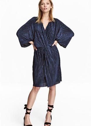 H&m платье миди плиссе плиссированное коктейльное