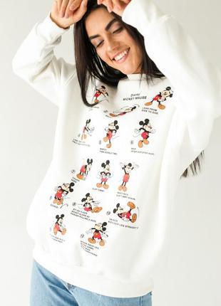 Теплый свитшот с принтом микки, жіноча стильна кофта з мікі