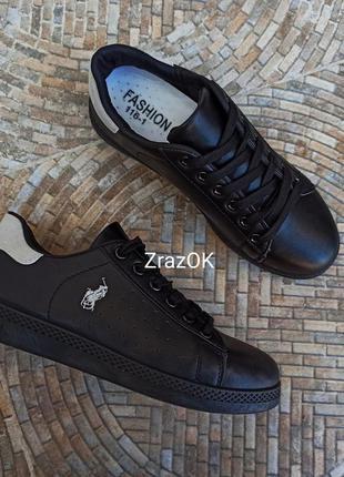 Черные кроссовки polo кеды кожаные туфли мокасины слипоны подр...