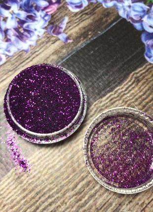 Глиттер для декора маникюра темно фиолетовый