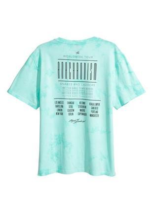 Мятная футболка h&m с узором батик !