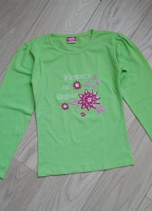 Тонкий зеленый лонгслив, реглан на 8 лет