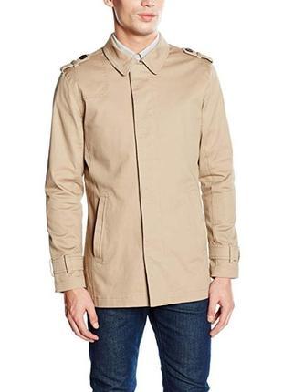 Мужской коттоновый бежевый плащ тренч куртка на молнии casual ...