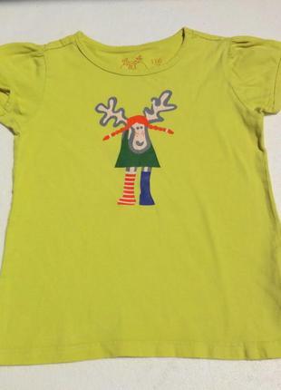 Плотная футболка 116-122 размер. лимонная.
