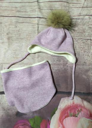 Красивый комплект шапка и хомут на девочку