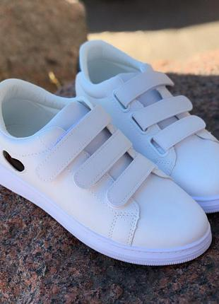 Белые кеды кроссовки на липучках
