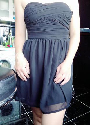 Лёгкое чёрное платье без бретель,шифоновое платье