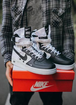 "Nike air force sf ""black\white"" мужские кроссовки найк черные ..."