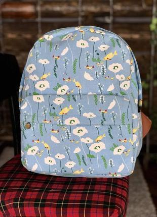 Рюкзак синий с цветами унисекс