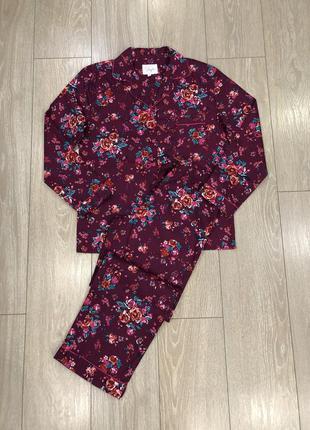 Пижама хлопковая спальный костюм в цветы