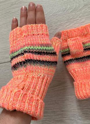 Перчатки, рукавиці, перчатки без пальців, мітенки рожеві від o...