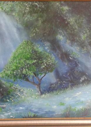 Картина маслом Лесные лучи 60х50 см